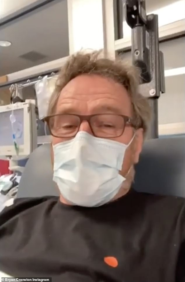 Good deed: Bryan Cranston, 64, revealed in an Instagram video Thursday that he had had COVID-19 and had already recovered when he was about to donate plasma to help other people in the need