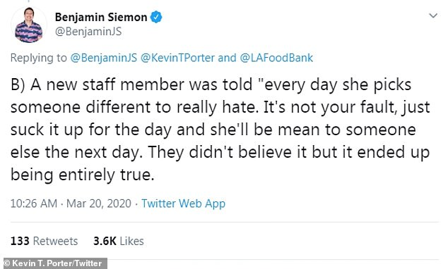 Say what? Benjamin Siemon tweeted about a staffer who was told to expect Ellen to be mean