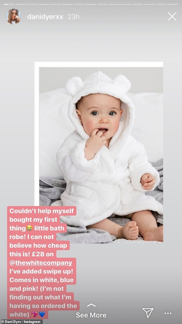 Secret: Dani has also revealed she won't find out the gender of her child ahead of the birth
