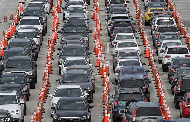 US labs are overwhelmed as both coronavirus cases and demand for tests surges in places like Florida, where hundreds of cars lined up for drive-thru testing earlier this month