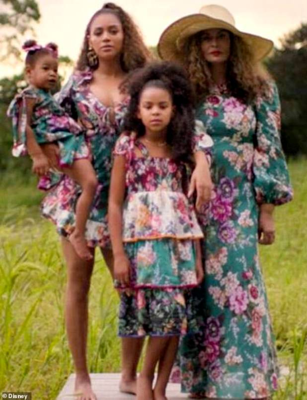 Three Generations: Beyoncé is joined by her daughters Blue Ivy, Eight, and Rumi, three, as well as her new visual album Black Is King by her mother Tina Lawson