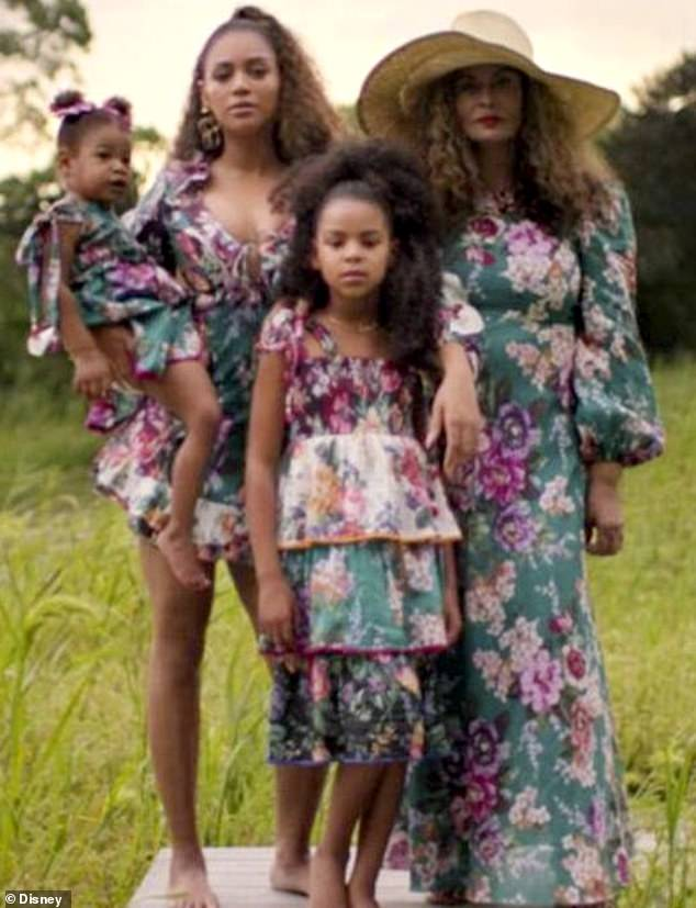 Three generations: Beyonce is joined by her daughters Blue Ivy, eight, and Rumi, three, as well as by her mother Tina Lawson in her new visual album Black Is King