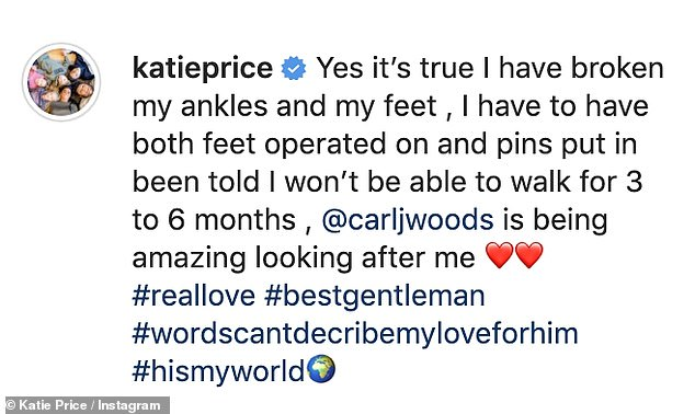 Shock injury: Katie shared a picture of her bandaged feet to Instagram on Thursday evening, and revealed she has to have an operation and pins placed in her feet