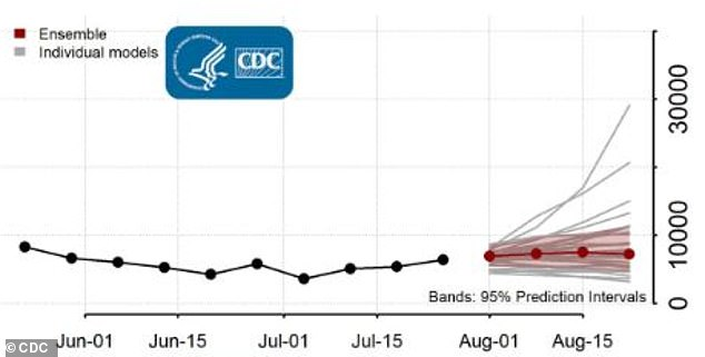 Also forecasted is a spike in fatalities between 5,000 and 11,000 during the week of August 15 to August 22 (above)