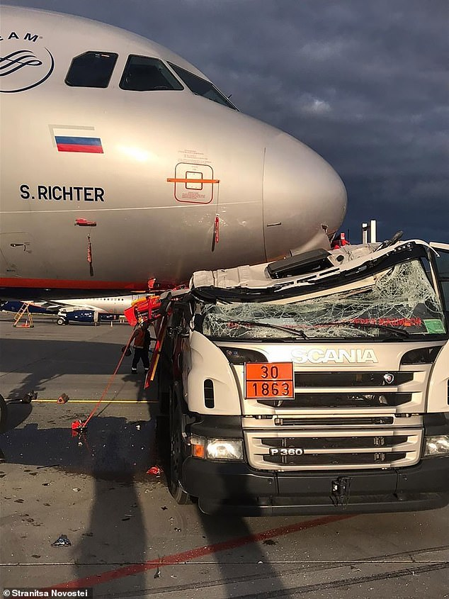 The entire roof of the Scania van had been crushed in the incident, which saw the Aeroflot plane pulled from service