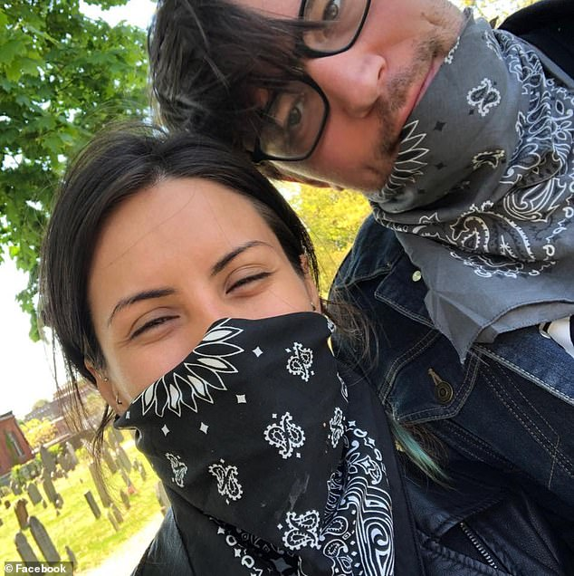 Cotter's girlfriend, Jessica Rayo, is suspicious and said she and her boyfriend smoked on the fire escape several times before without incident. Pictured: Rayo (left) and Cotter