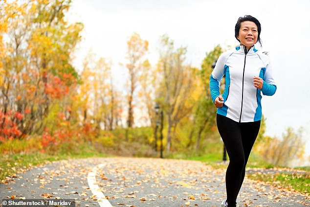 Studies show that moderate exercise just once a week – whether it's a jog, exercise class or strenuous gardening – reduces the risk of dementia by 20 per cent (file photo)
