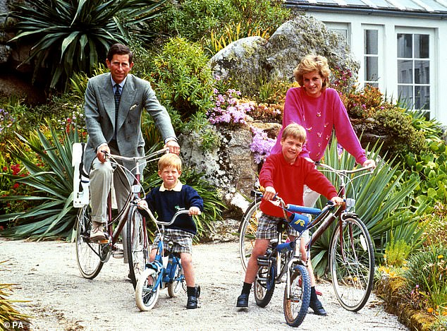 Tresco is an all-too-familiar destination for William, who gave a shy smile when pictured there in 1989 with Princess Diana, Prince Charles and his brother Harry (above)