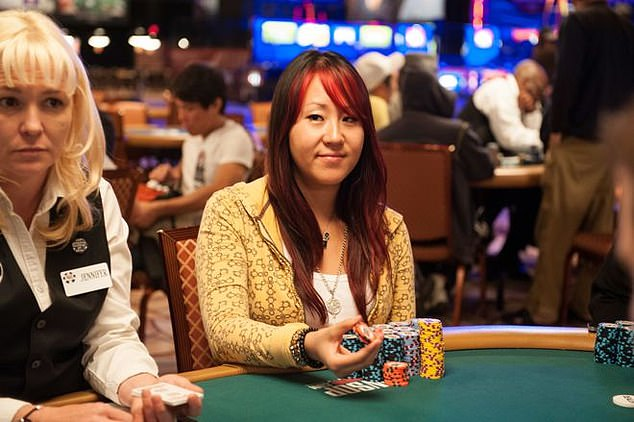 She had competitive success as a poker player and is reported to have won $224,671 in tournament cashes, including $73,000 at the 2012 World Series of Poker Main Event. Pictured: Zhao during a poker game