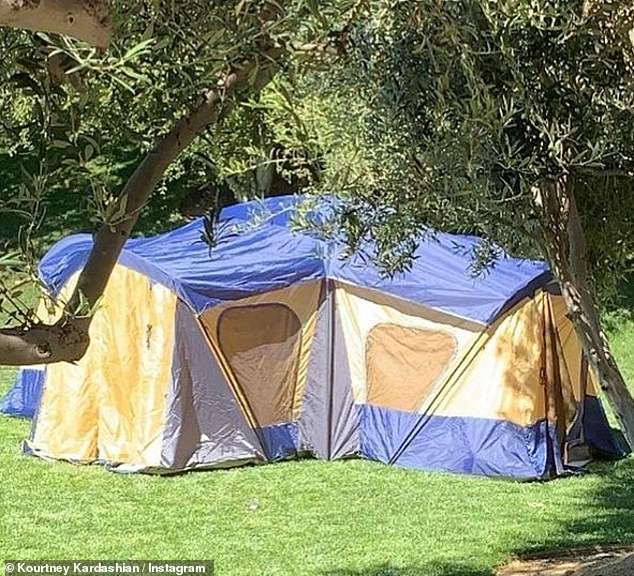 Kourtney Kardashian takes the kids camping in the backyard