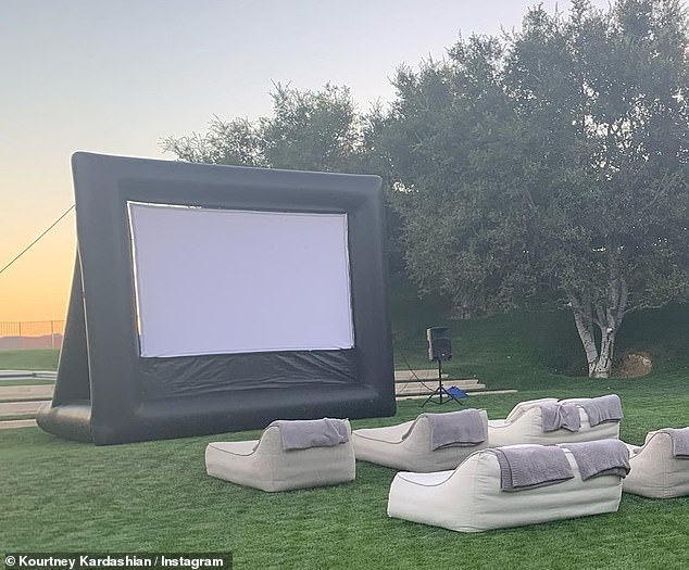 Improvising: The 41-year-old reality star made the excursion happen in her own backyard, setting up a tent and an outdoor movie theater at her home