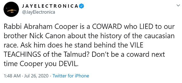 Electronica's tweet, in which he called Rabbi Abraham Cooper a 'coward' and 'devil' before going on to recommend anti-Semitic passages from the Bible to his 373,000 followers