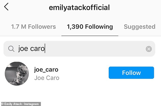 Social media presence: Emily follows Joe on Instagram, and a source said things were going well between the pair as they 'share the same sense of humour and are both chilled out'