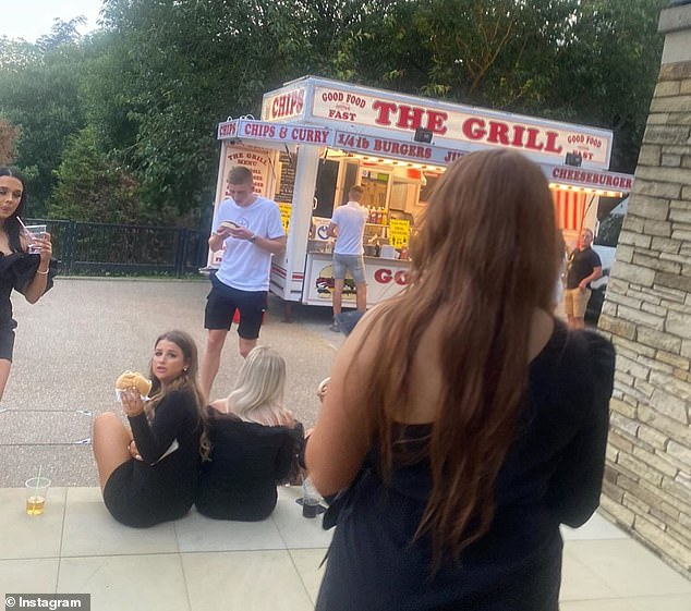 Partiers were pictured collecting food from a van, called 'The Grill,' during Arron's 21st birthday celebrations