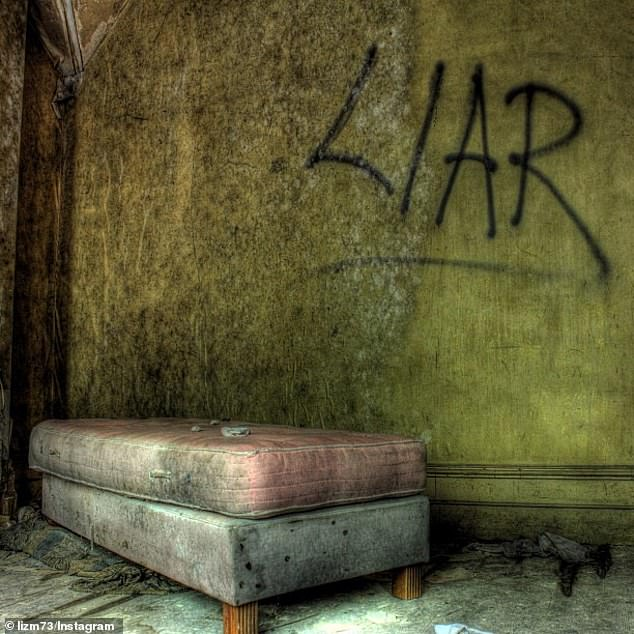 Terrifying: The word 'Liar' was spray-painted onto a wall in large black letters