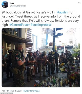 Heavily Armed Protesters Gather to Protect Black Lives Matter Demonstrators Holding a Rally in Austin One Week after Garrett Foster was Shot Dead – as Gun-toting Members of Right-wing Militia Groups Line Up