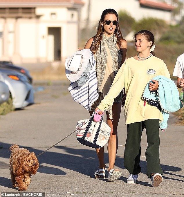 Cute pup: Anjasported a pale yellow sweatshirt and a pair of dark green sweatpants as she eagerly walked the family pup