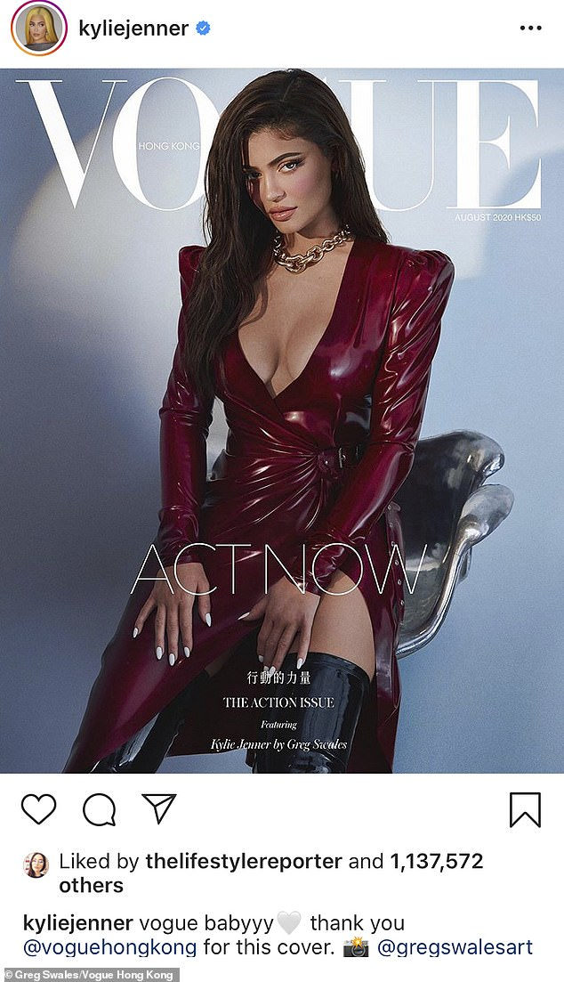 Cover girl: Kylie Jenner looked amazing, as she graced the cover of Vogue Hong Kong's action number in a plunging brown dress