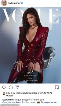 Kylie Jenner 'embodies strength' on Vogue Hong Kong's cover in a plunging maroon gown