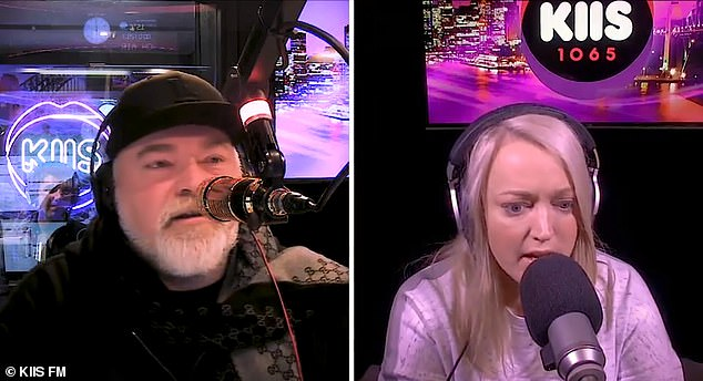 'We're going until two in the morning': Speaking to KIIS FM's Kyle Sandilands (left) on Monday, Jackie said her filming schedule has been changed to end in the middle of the night