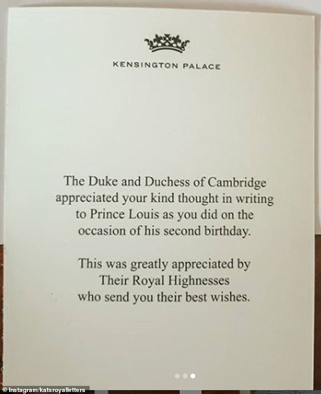 It was printed on the back of a short thank you note from Kate Middleton, 38, and Prince William, 38, in the photo.  This image was shared by German fan account @katsroyalletters