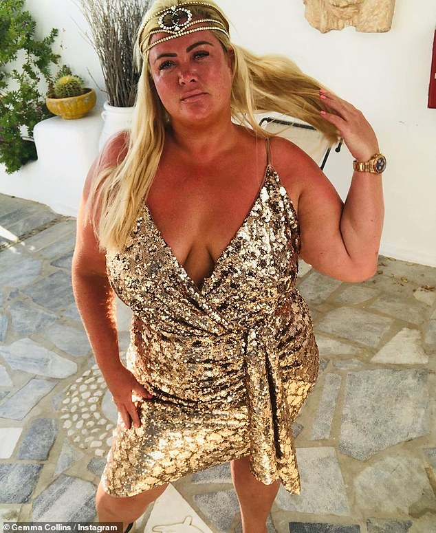Glow: Gemma Collins, 39, looked every inch the Greek goddess as she posed in a crystal Gucci headband and gold sequin wrap dress on Monday