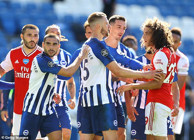 Mikel Arteta was not happy with Guendouzi, who taunted Brighton players over their salary