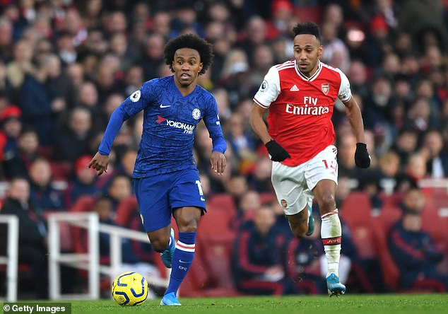 Willian (left) could ease the blow to Arsenal if he loses Pierre-Emerick Aubameyang (right)