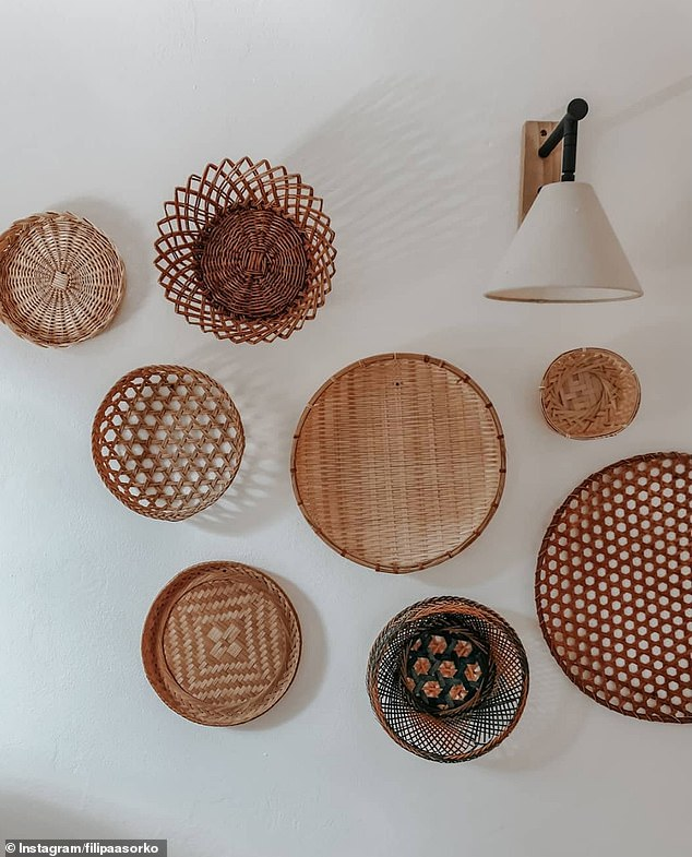 9. RATTAN BASKETS: Filipa, from Croatia, shared a picture of her wall gallery made up entirely of brown rattan baskets