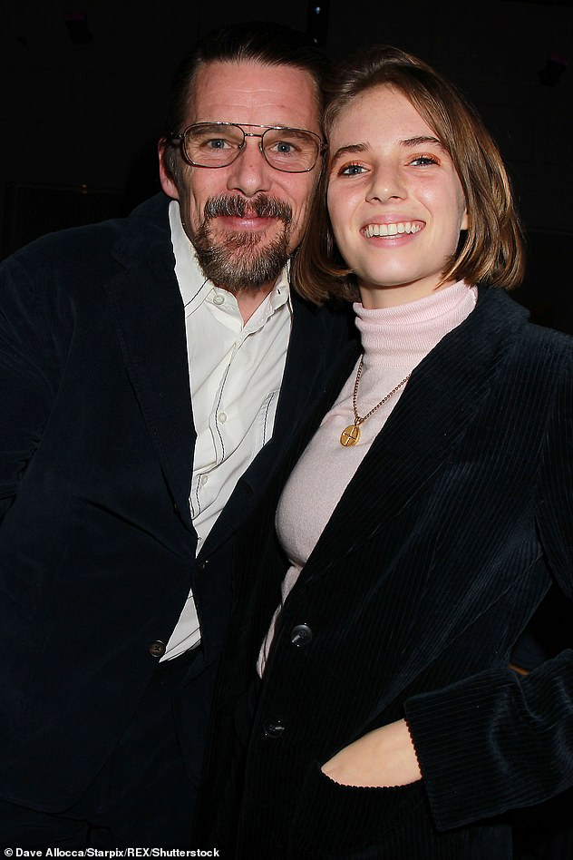 Famous parents: In addition to Maya, Ethan Hawke and ex-wife Uma also share an 18-year-old son named Levon (Maya and her father Ethan pictured in 2018)