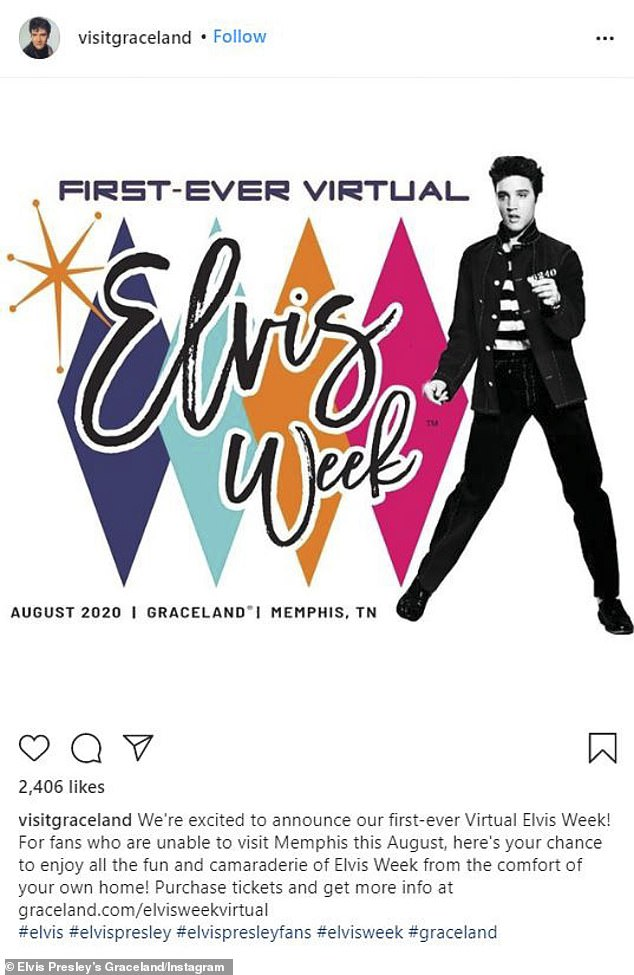$39 tickets: The auction news came ahead of the first-ever Virtual Elvis Week being held August 8-16 (the anniversary of his death) at his beloved Memphis mansion, Graceland