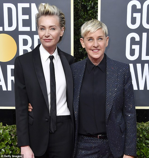 By her side: Earlier in the week, actress Portia, 47, broke silence on the scandal as she thanked fans for 'standing' with the TV icon (pictured in January)
