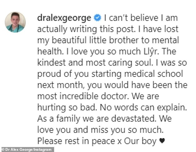 Touching: In his touching post he said: 'I was so proud that you started medical school next month, you would have been the most amazing doctor'