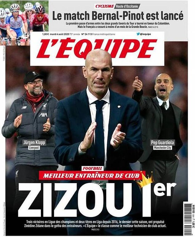 French newspaper L'Equipe named Zinedine Zidane as the best club manager in the world