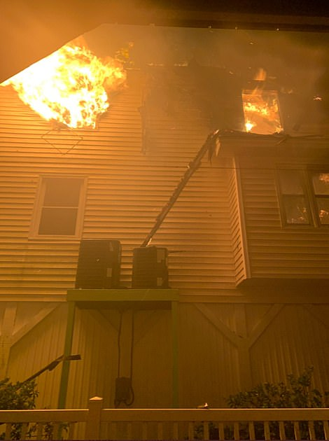 Fires burning inside a home on Ocean Isle Beach in North Carolina last night as Hurricane Isaias made landfall