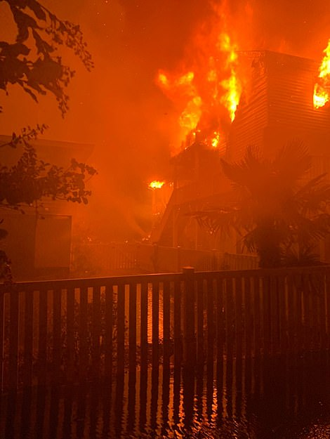 Five homes on Ocean Isle Beach in North Carolina were ripped apart by ferocious infernos caused by the hurricane