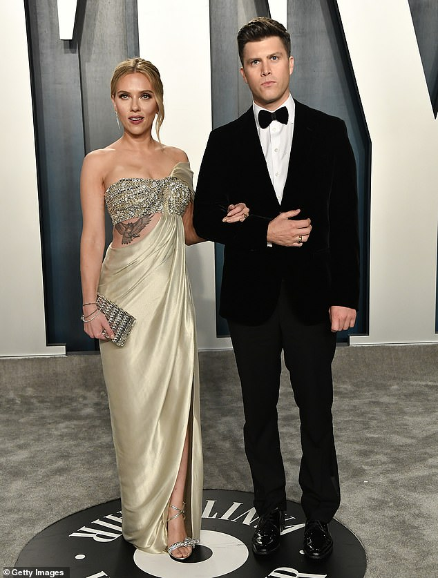 Lovebirds: Scarlett and Colin, who began dating in 2017, got engaged in May of last year. Due to the coronavirus, the pair have had to push back their nuptials. The couple seen here in February 2020