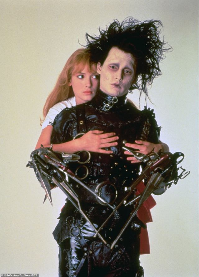 Throwback:The corner lot home served as the home for the Boggs family, and where Edward Scissorhands, played by Johnny Depp stays as a house guest; Johnny Depp and Winona Ryder pictured in an Edward Scissorhands film