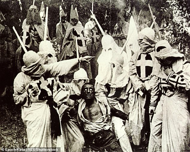 Protesters compared Kindergarten Cop to the explicitly racist silent film Birth Of A Nation (above) which glorified the Ku Klux Klan and portrayed most black characters with blackface