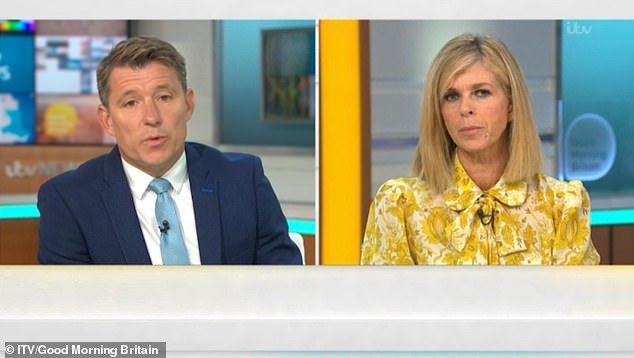 Surprising:Kate Garraway, 53, has revealed that doctors caring for her husband Derek Draper have claimed the contraceptive pill could prevent men from contracting coronavirus