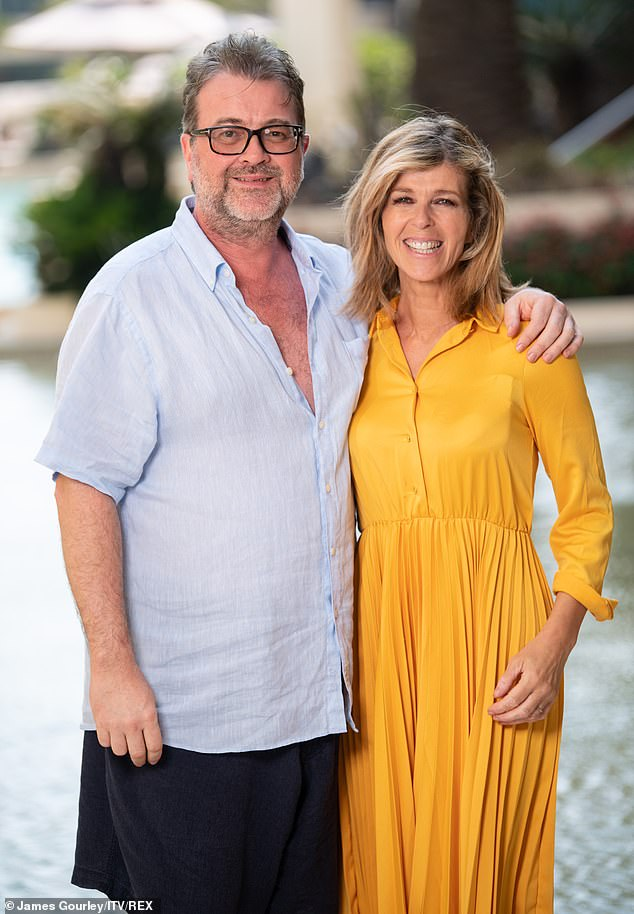 Battle: Kate fought back tears as she recalled the 'breakthrough' moment her husband Derek spoke his first word since emerging from a coma (pictured with Derek in December 2019)