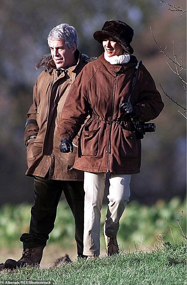 Maxwell and Epstein's tight-knit relationship meant Christopher was banned from asking anyone else about the millionaire. The pair are pictured as guests of Prince Andrew at Sandringham, Norfolk in 2000