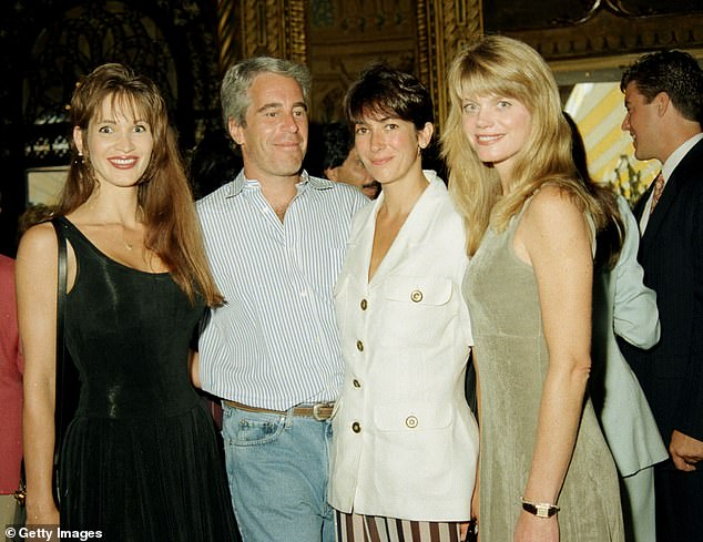 Maxwell met Epstein in the early 1990s at a New York party following a difficult break-up with former boyfriend. The pair are pictured atthe Mar-a-Lago club, Palm Beach, Florida, 1995