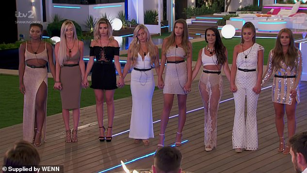Reality star: Ellie (centre) shot to fame on the 2018 series of Love Island