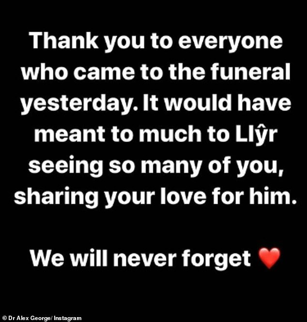 Touching: With a touching message, Alex said he and his family 'will never forget' the number of people attending the funeral