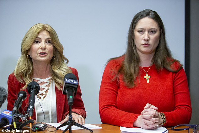 A former model who uses the name 'KiKi' was sexually assaulted by Epstein in 2004 at the age of 19, and in February penned an open letter to Prince Andrew. she is pictured with lawyerLisa Bloom (left)