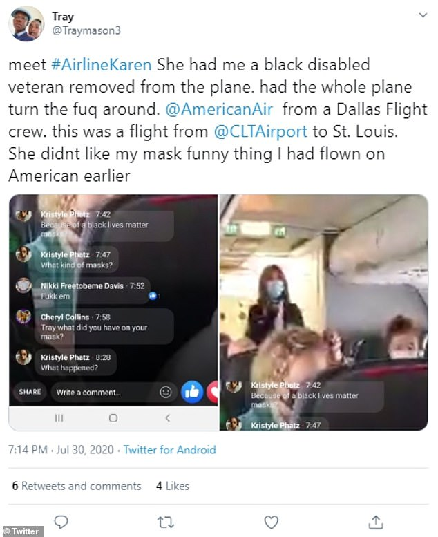 Johns shared the incident on Facebook Live and said she had traveled American Airlines previously with no issue