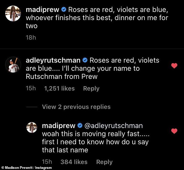 Best response: The Bachelor alum, 24, prompted their flirty exchange by asking her nearly two million followers to add onto a love poem, traditionally reserved for Valentine's Day