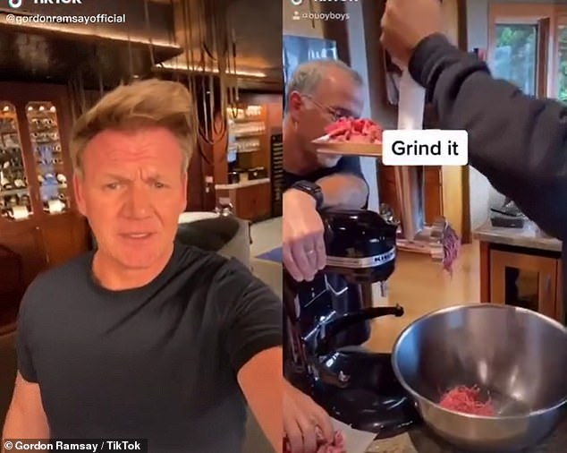 Gordon also reacted to a video by Buoy Boys, who tried to make a premium wagu syteak from cheap beef. They started by grinding it (right)