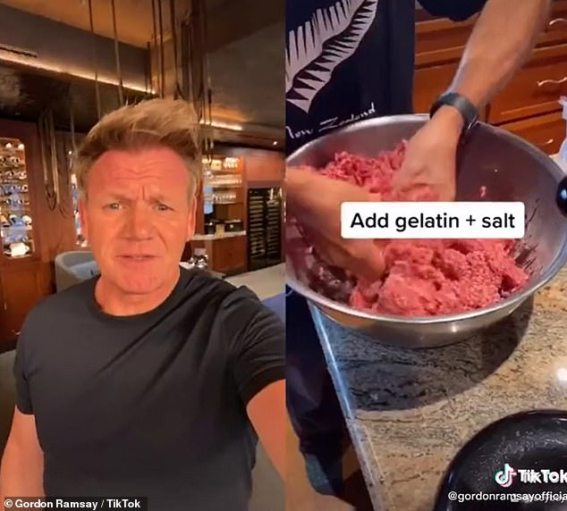 In the video, the pair grind down steak, add gelatin to it, put it in a bag and sous vide it - before grilling it on a barbecue. Gordon was dismayed by the method